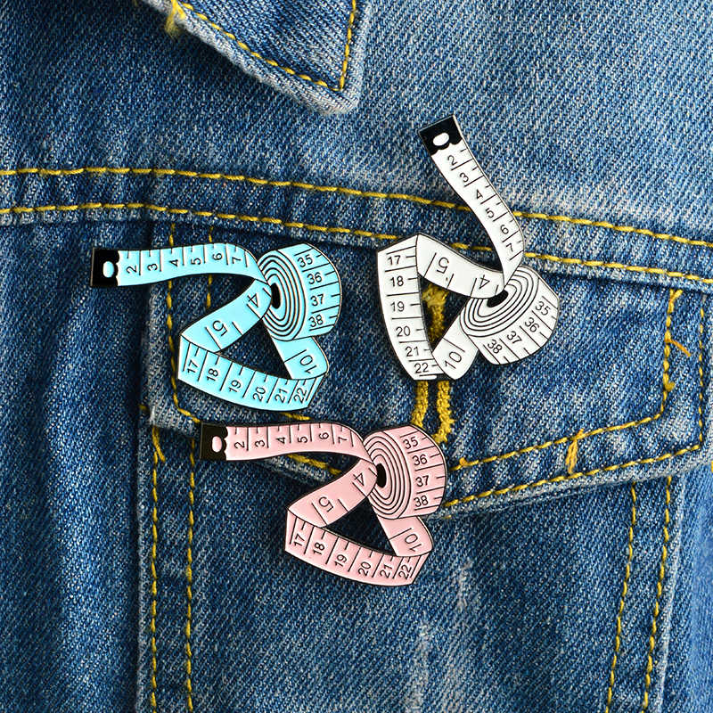 Polychromatic Tape Measure Brooches Blue White Pink Measuring Ruler Sewing Tool Sweater Shirt For Kids Jewelry Gift