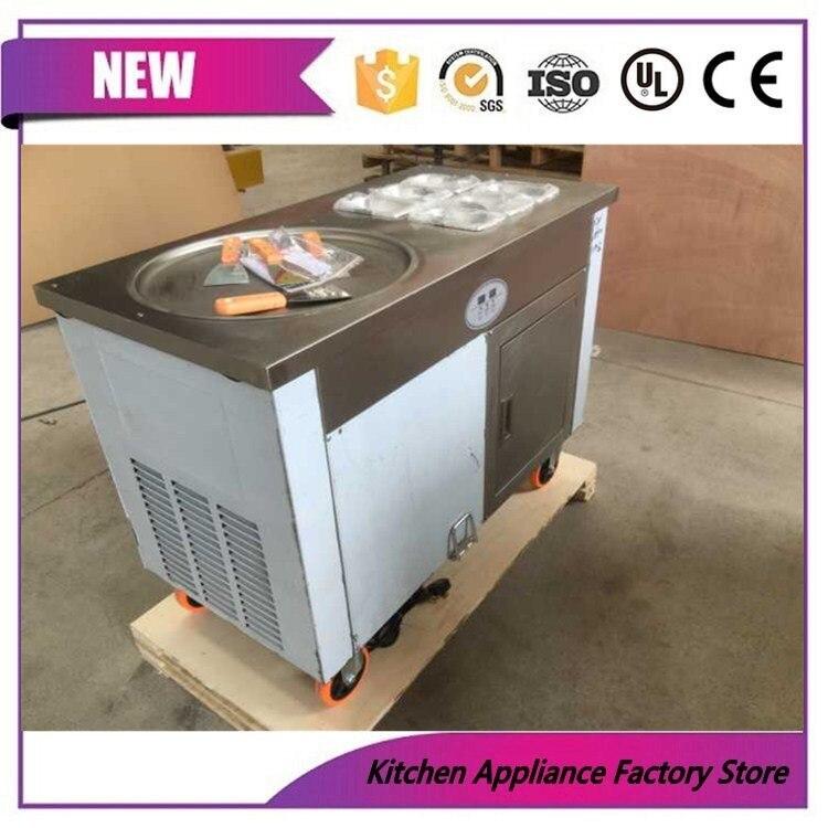 Livraison gratuite 1 poêle ronde avec 6 réservoirs machine à crème glacée frite (par air sans réfrigérant)