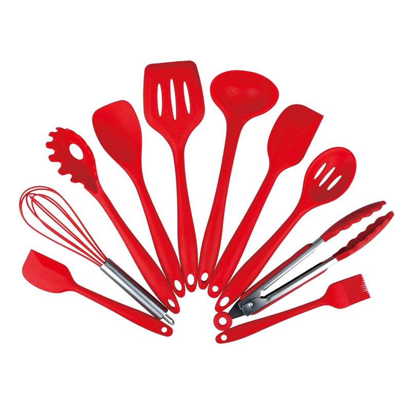 New 10Pcs/Set Kitchen Silicone Cooking Tools Spatula Ladle Egg Beaters Spaghetti Server Slotted Turner Spoon Set Cooking Gadgets