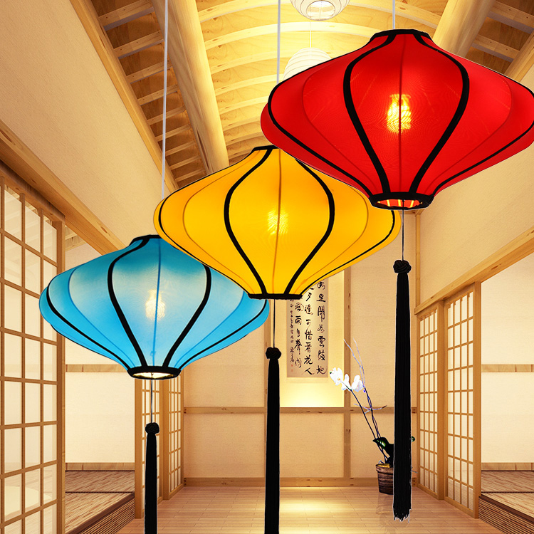 Chinese style pendant light Chinese cloth style restaurant clubhouse hotel box living room decorative arts light pendant lamps chinese style wood chandelier living room restaurant hotel aisle hotel retro lighting light e27 1 3 heads lamps za323440