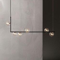 Nordic Minimalistische Ontwerp Glazen Bal Kroonluchter Creative Art Molecuul Hal Woonkamer Restaurant Suspension Verlichtingsarmaturen-in Hanglampen van Licht & verlichting op