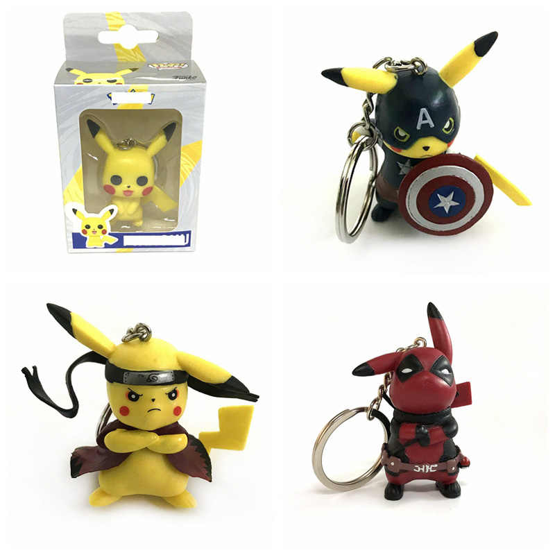 Bonito dos desenhos animados de Bolso chaveiro Pikachu Cosplay Capitão América Deadpool Naruto Action Figure Coleção Modelo Brinquedos Para Crianças