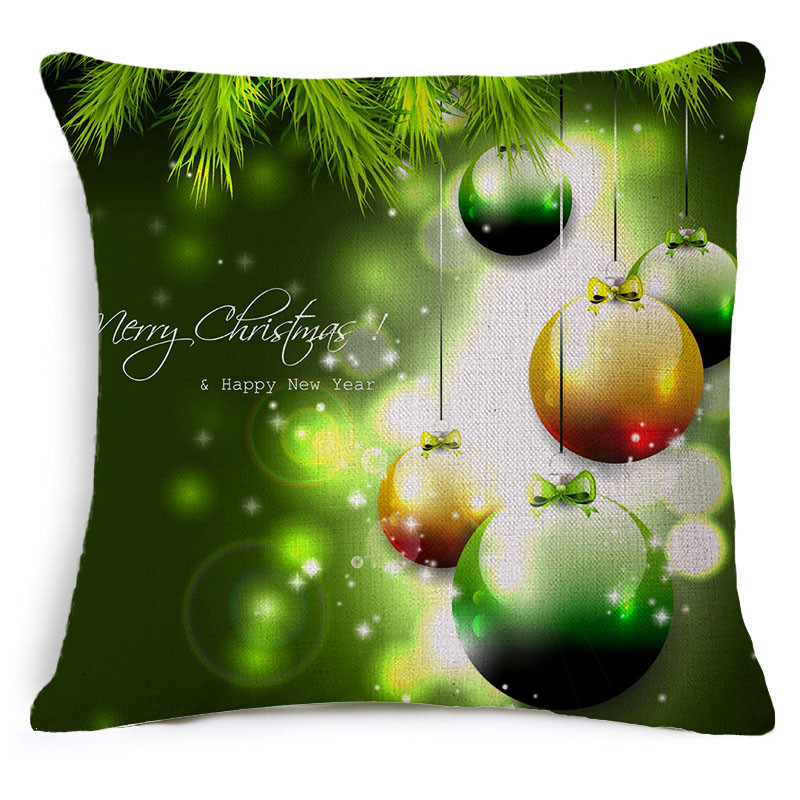 Beautiful 45*45cm Christmas Cotton Linen Square Throw Pillow Case Decorative Cushion Cover Pillowcase Christmas Gift For Kids