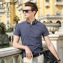 HIYSIZ New Hot T-Shirts Men 2019 Soft Streetwear White Striped Casual T Shirt Turn-down Collar TShirts For Summer ST018