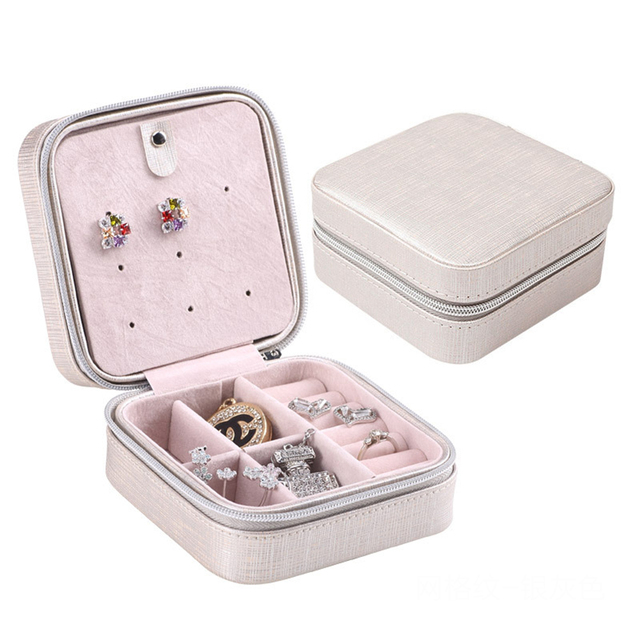Fashion Mini Jewelry Box Leather Cosmetic Casket Travel Bag Ring