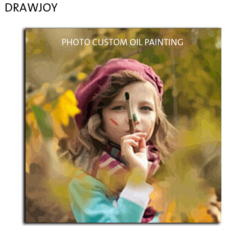 DRAWJOY Photo Custom Make Your Own Digital Canvas Oil Painting Framless Picture Painting By Numbers Wall Art DIY Oil Painting