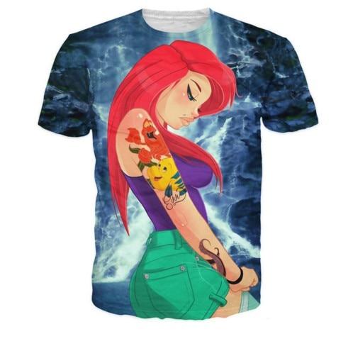 4cf681ff7 Novo Dos Desenhos Animados A Pequena Sereia Ariel T Camisa 3D T Top Casual  Manga Curta