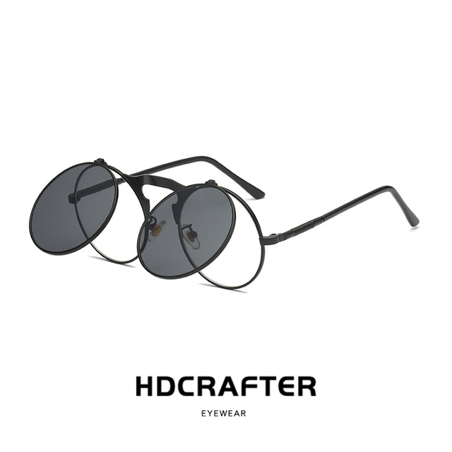 7fadc035f8d Vintage Steampunk Flip Up Men Sunglasses Women Retro Round Metal Frame Sun  Glasses Hinge Design Curved Glasses Legs UV400