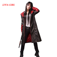 Devil May Cry Dante Jacket Cosplay Costume DMC 5 PU Leather Trench Halloween Uniform For Woman Man Winter Christmas Coat