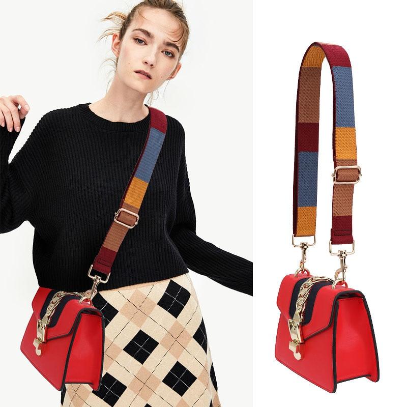 Adjustable Women Handbag Bag Strap Vintage Plaid Canvas Strap Messenger Crossbody Shoulder Bag Belt Handles Accessories KZ151366