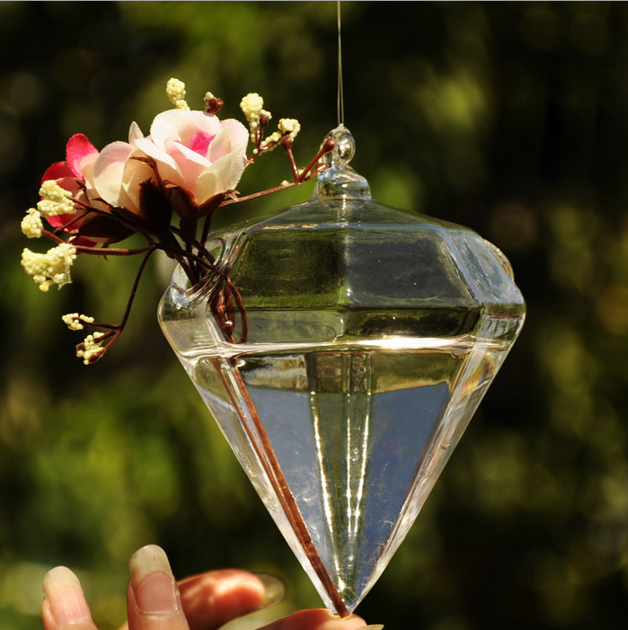 New Glass Diamond Flower Plant Stand Hanging Vase Hydroponic