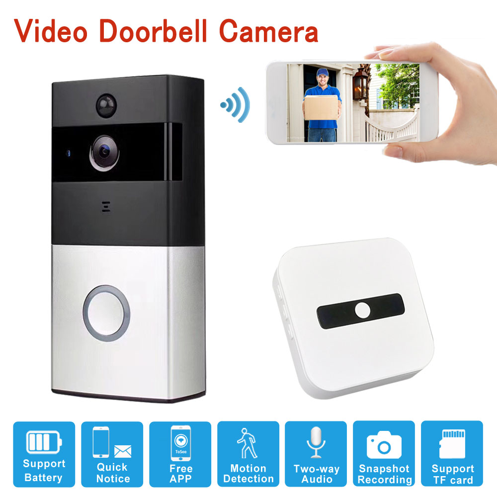 Mingkey Wifi Videoo Intercom Doorbell Camera 720P Wireless Security Camera Night Vision Two-Way Audio Battery Powerd Remote App