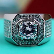 Size8-13 joyería de lujo completa Topaz del corte redondo Diamonique blanco de 10kt gold filled topacio Zirconia hombres de diamantes simulados anillo de bodas de regalo