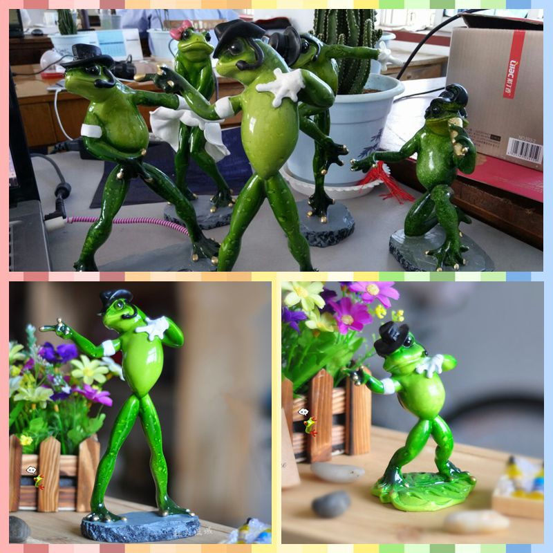 Free shipping Dancing Michael Frog Family Figures Resin toy Big Small sizes cake home office desk car decor party supply gifts