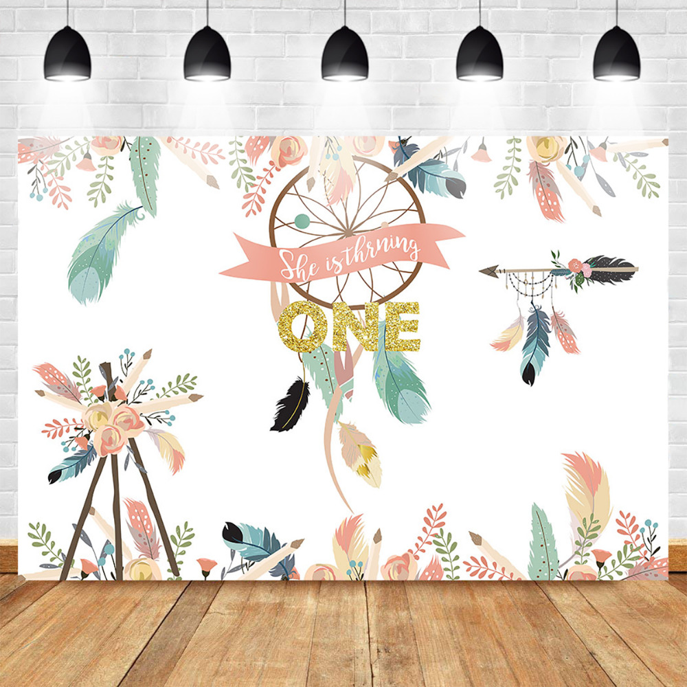 Mehofoto Wild One Dreamcatcher Photography Background Tribal Party 1st Birthday Booth Backdrop Photo Studio Floral