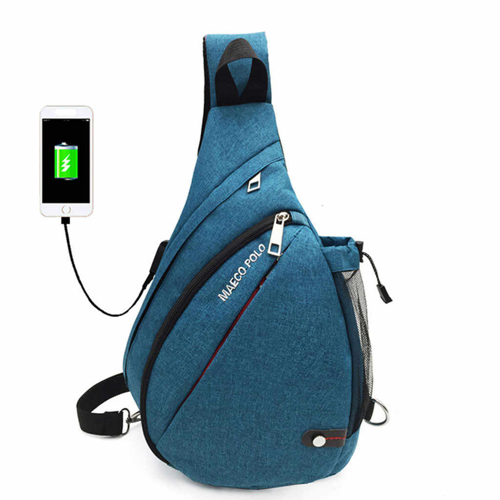USB Kanvas Dada Tas Unisex Tas Boston Fashion Unisex Outdoor Sport Pelajar Murni Warna Crossbody Tas Telepon 5 H