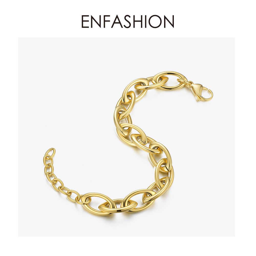 ENFASHION Punk Link Chain bransoletki bransoletki dla kobiet złoty kolor gruby łańcuch ze stali nierdzewnej bransoletka biżuteria BM192012