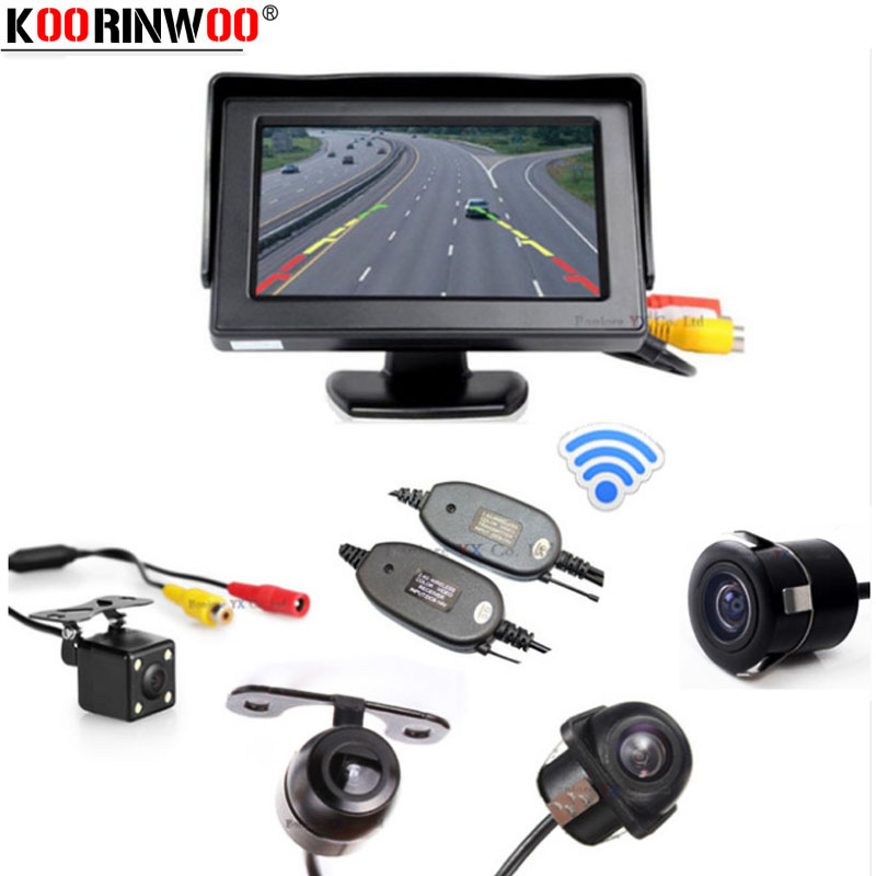 Koorinwoo Sem Fio Do Carro TFT LCD Monitor de Tela de Vídeo com Câmera Retrovisor Do Carro Invertendo Cam Estacionamento Assist carro detector