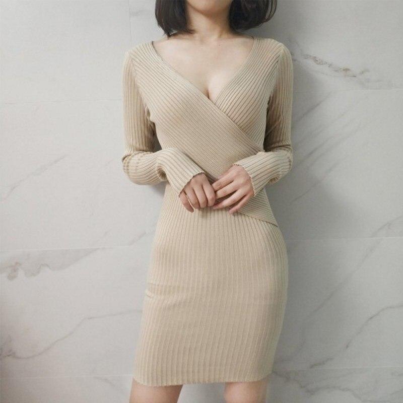 Bodycon Dress Sexy Deep V Neck Long Sleeve Front Split Sheath Party Club Dresses Women's Elegant 2018 Autumn Winter Dress