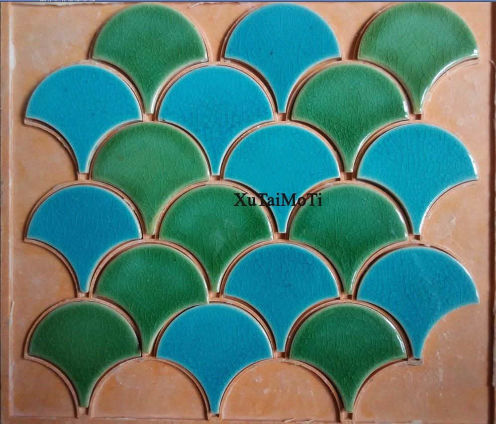 blue green fish scale ceramic mosaic tile kitchen backsplash ...