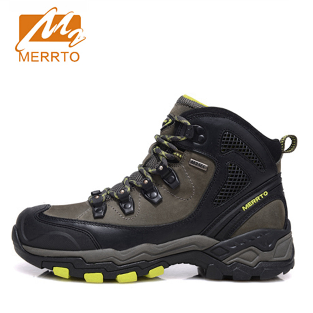 2018 Merrto Mens Hiking Shoes Waterproof Breathable Outdoors Shoes Trekking Shoes Full-grain leather Free Shipping MT18573 2018 merrto women walking shoes waterproof outdoor shoes breathable sport shoes full grain leather for women free shipping 18251