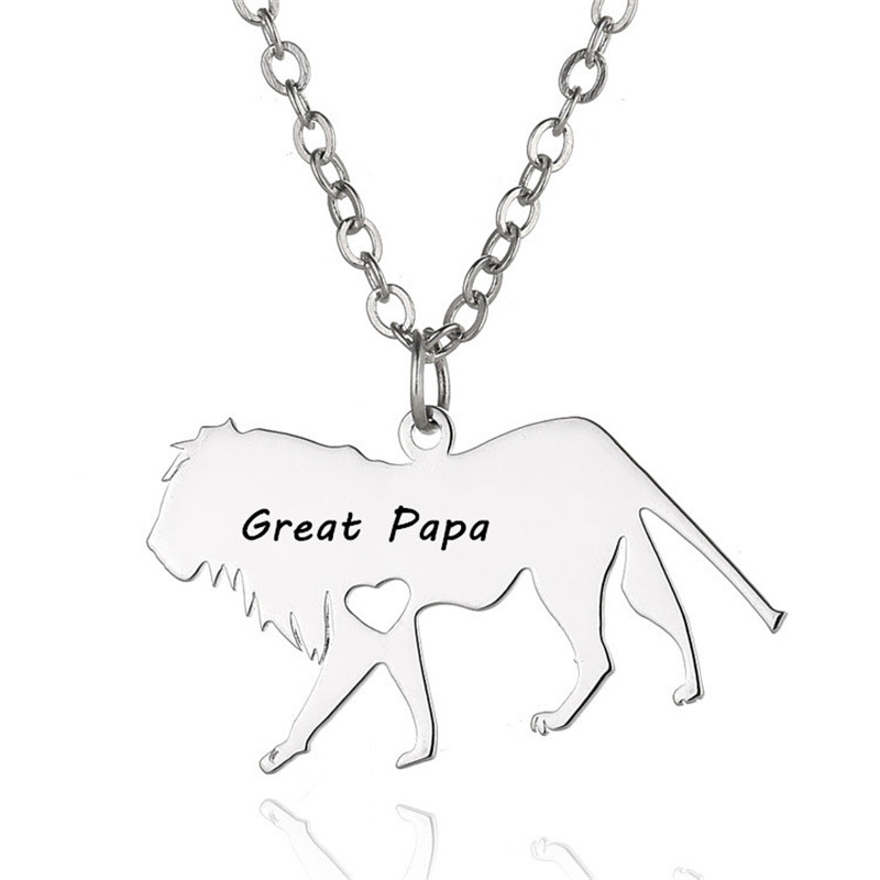 Family Guardian Papa Necklace Pendant Stainless Steel Personalized Animal Lion Necklace Pendant For Men Name Necklace