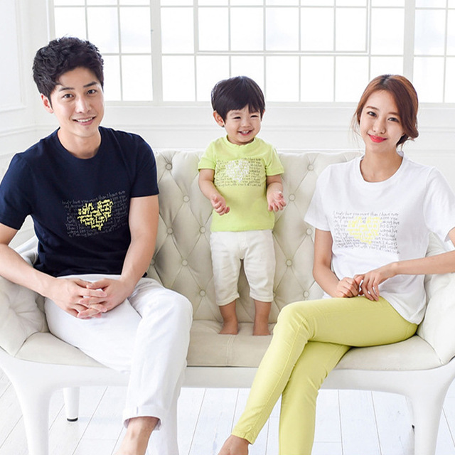 0f51cb40f summer family clothing 2019 children short sleeve T-shirt Korean version  beach Mom Dad Son tshirt family wear couples clothes