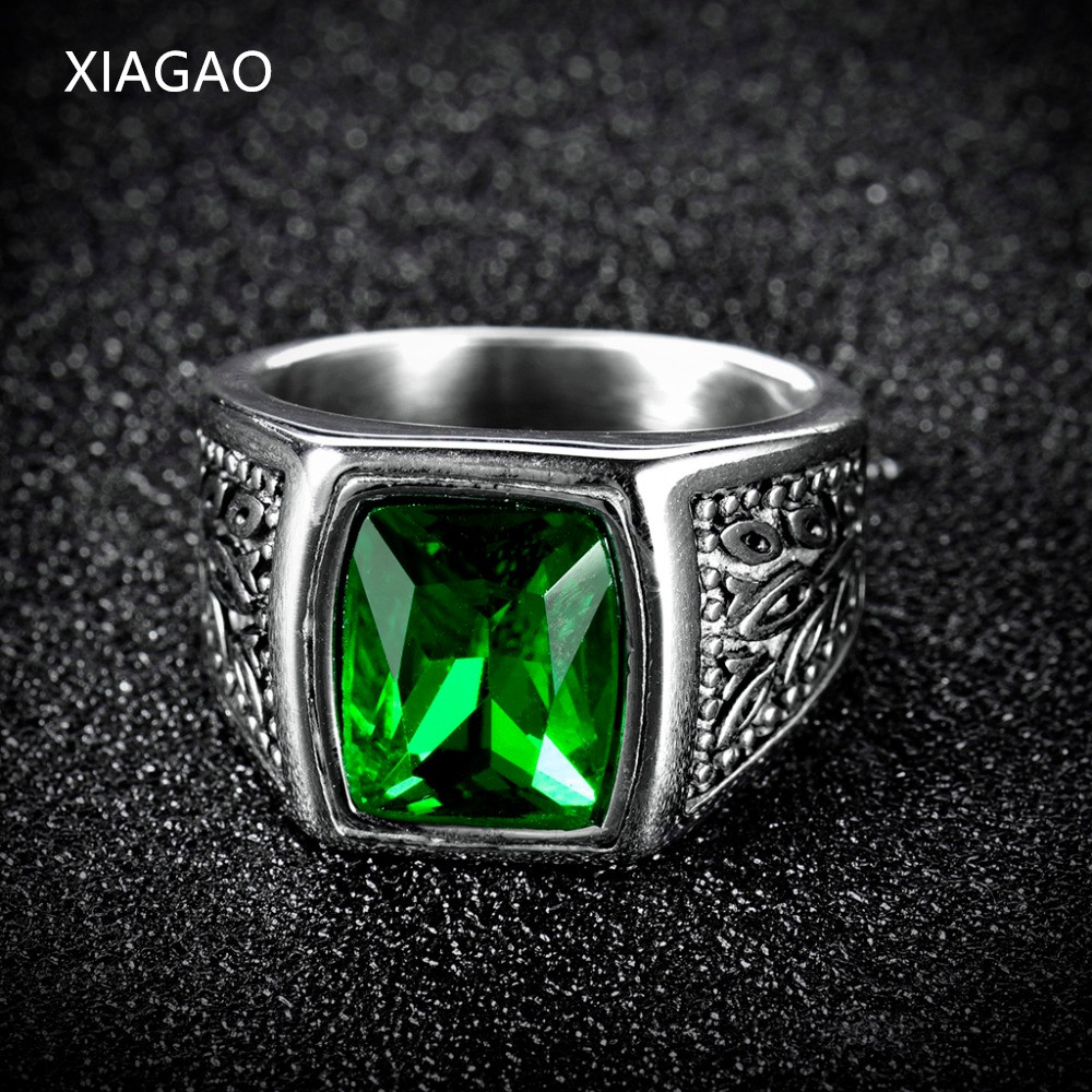 XIAGAO Gift 2 Color Red Green Square Stone Titanium Ring for Man 316L Stainless Steel Unique