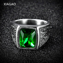 XIAGAO Gift 2 Color Red Green Square Stone Titanium Ring for Man 316L Stainless Steel Unique Fashion Male's Cross Ring for Boy