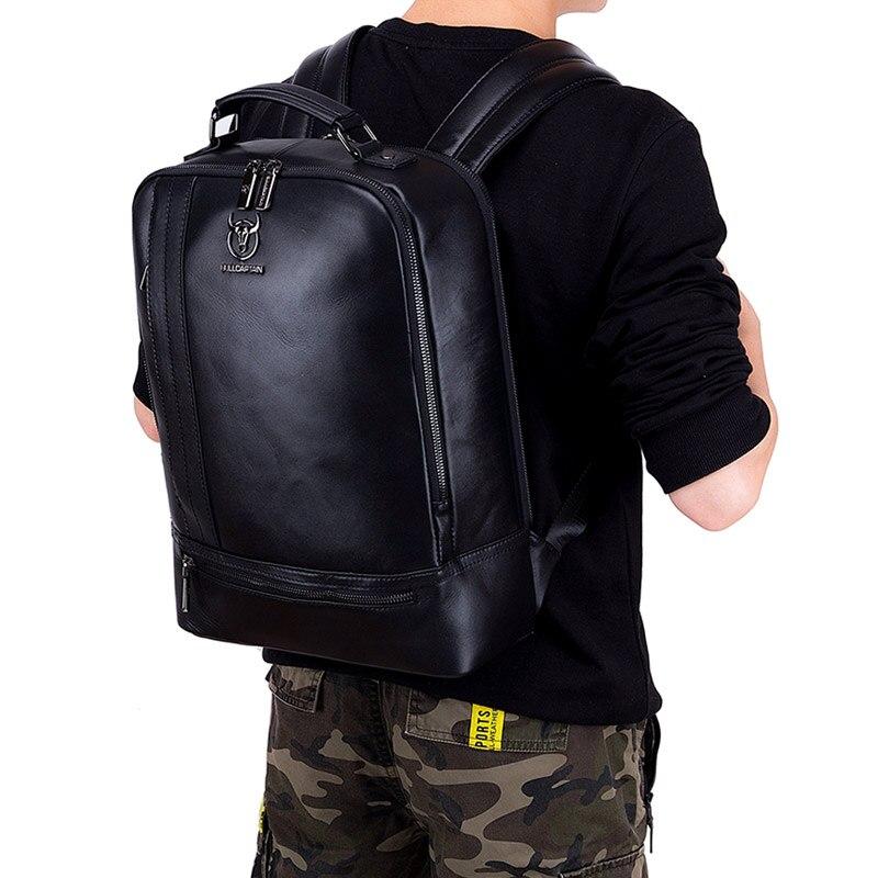 BULLCAPTAIN multifonction unisexe 15 pouces ordinateur portable en cuir de vache sac à dos mode minimaliste mâle Mochila 18L voyage sac à dos pour hommes - 6