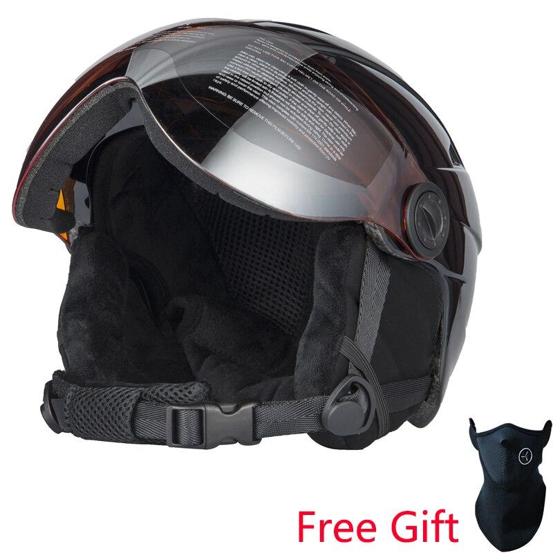 Qualité supérieure Intégralement casque de ski Avec Lunettes Demi-couvert casque de ski Lunettes CE Sports de Plein Air Snowboard Casque Noir - 2