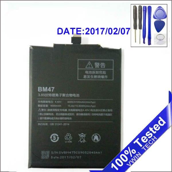 Free Tools For Xiaomi Redmi 3 3S 3X Xiao mi Hongmi 3 3S 3X BM47 Full Capacity 4000mAh Battery 2017 Year Edtion