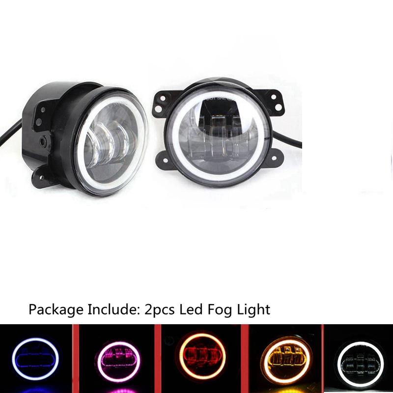 4 Inch 30w Led Fog Lights Two Color Halo Ring for Jeep Wrangler Dodge Magnum Journey Chrysler PT Cruiser and Others система охлаждения after market 5017183ab chrysler 300 dodge magnum concorde