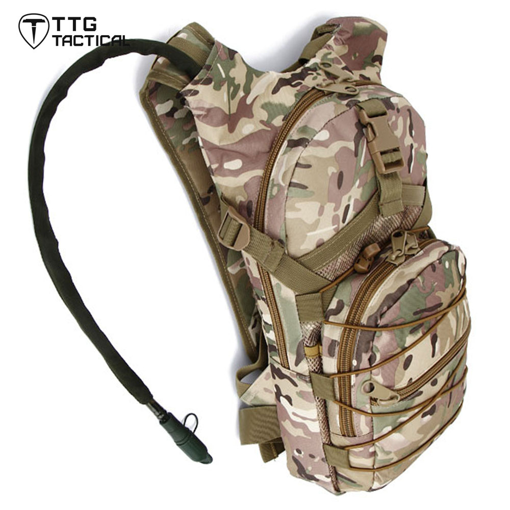 Outdoor Tactical Hydration Backpack Sport Hiking Double Shoulder Hydration Water Pack With 2.5L Water Bladder Army Green tactical outdoor double shoulder backpack bag army green