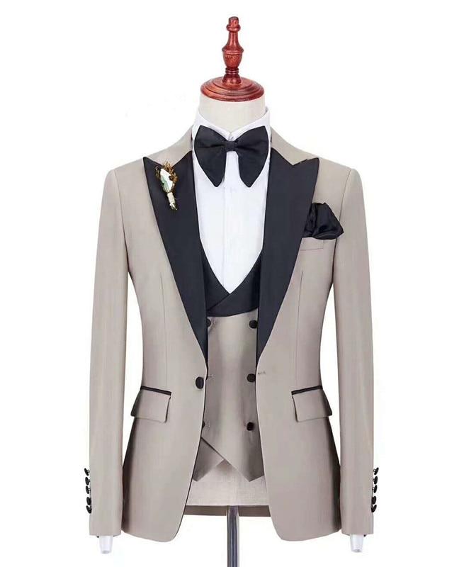 Hot Sale Groomsmen Beige Groom Tuxedos Peak Black Lapel Men Suits Wedding Best Man Blazer ( Jacket+Pants+Bow Tie+Vest ) C409