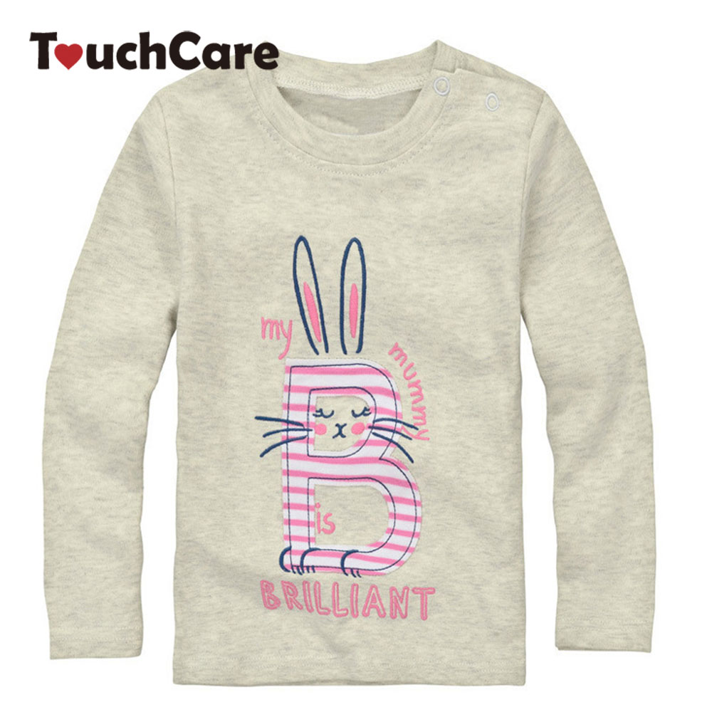 Clearance Spring High Quality Baby Girl Long Sleeve Cute Rabbit Organic Cotton T shirts Children T-shirt Kids Infant Clothing