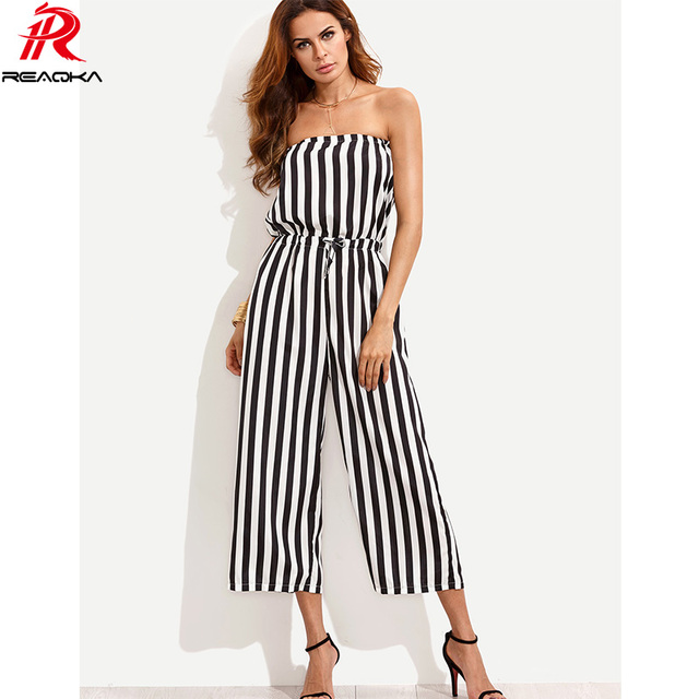 6a7713b023d Reaqka Sexy Women Calf-Length Pants Striped Jumpsuit Sexy Strapless Elastic  Waist Off Shoulder Romper Bodysuit Boot Cut Playsuit