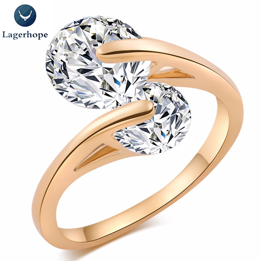 LAGERHOPE Promotion Anillos New Arrival Luxury Quality Simple Dislocation Delicate Zircon Wedding/engagement Rings For Women