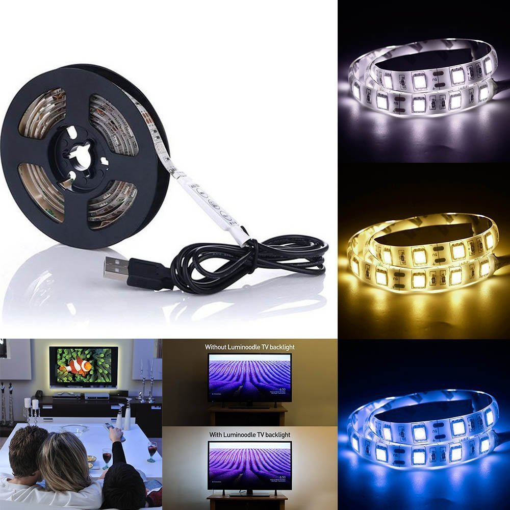 Tanbaby DC 5V USB LED Strip Light SMD 5050 60 led /per meter Waterproof Flexible rope tape decoration light for TV dinning room