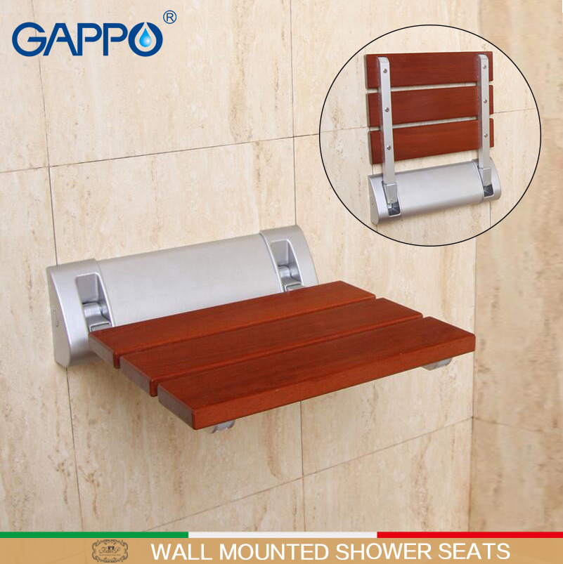 Solid Wood Shower Seat Spacing Saving Wall mounted Relaxation ...