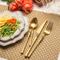 Lekoch 24pcs Gold Cutlery Set Stainless Steel Butter Steak Knife Fork Scoop Dinnerware Set Western Tableware Set Home Kitchen