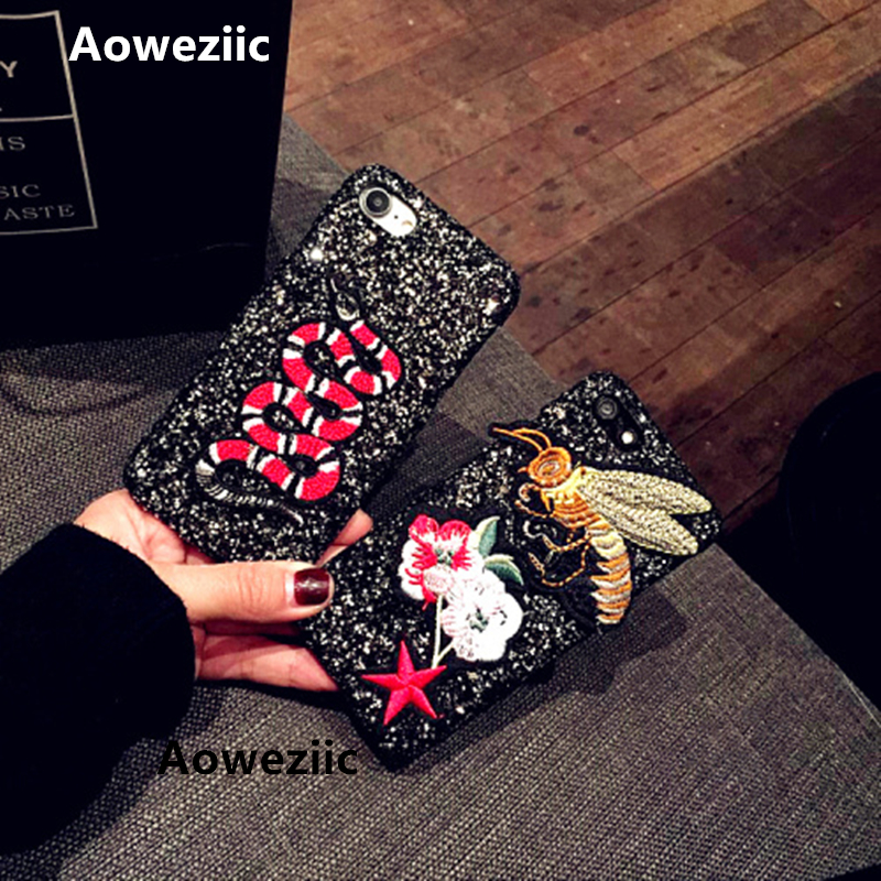 Aoweziic New bee luxury flash powder sequins For iphone7 6s 6plus mobile phone cases 7Plus 8Plus X hard shell Embroidery snake