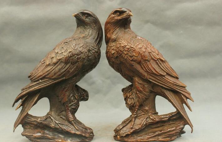 9 ''chine paire aigle oiseau chanceux en laiton Statue en gros en laiton Arts points de vente
