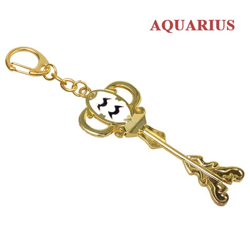 Модный Сказочный хвост, Зодиак, звезда, дух волшебника, Lucy, вызовет ключ, 12 ключей, брелок для ключей «Созвездие», косплей, подарок - Цвет: Aquarius