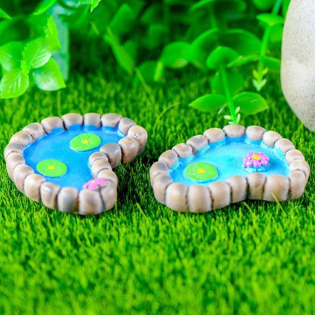 2Pcs/Set Lotus Pond Miniature Landscape Ornaments Garden Bonsai Decorations