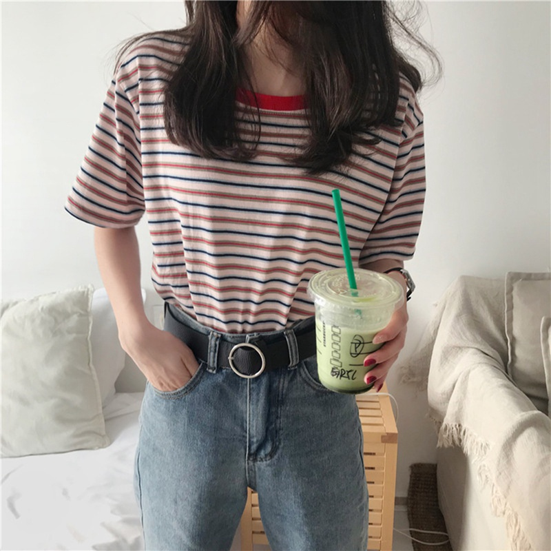2019 T-shirt Women Vintage Striped Classic Bottom T-shirts For Women Harajuku T Shirt Summer Casual Short Sleeve Female Top Tee