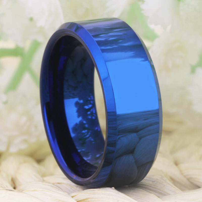 Image 2 - Drop Shipping Womens Wedding Band Ring Men Classic Blue Bevel Tungsten Ring Engagement Party Ring Gift Present for Women menWedding Bands   -