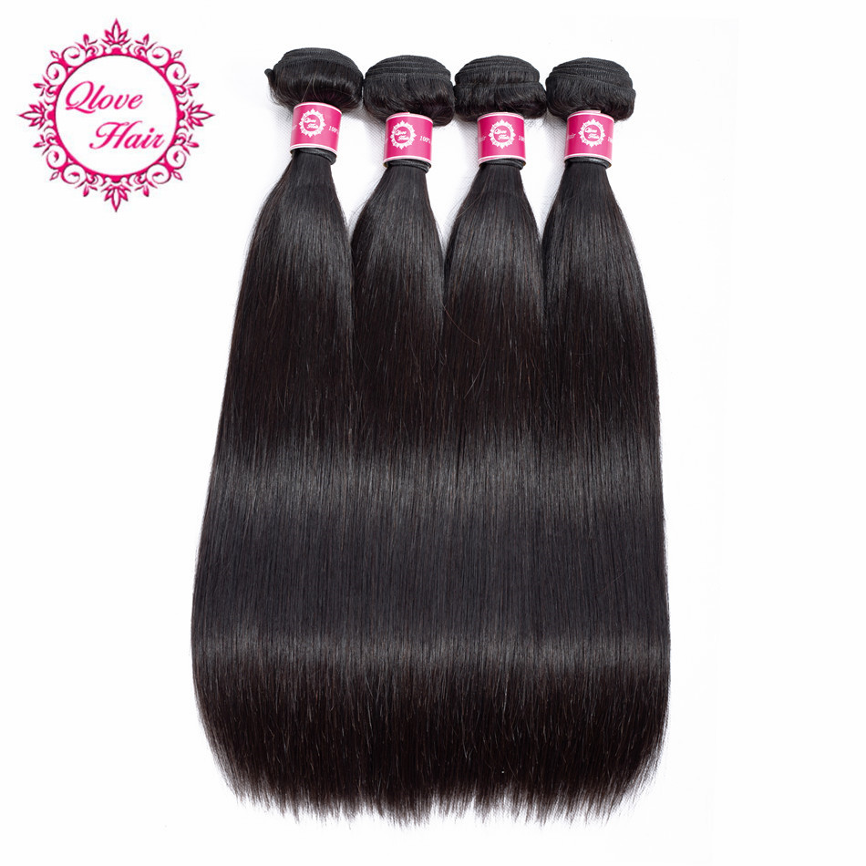 QLove Pre-colored Malaysian Straight Hair Bundles 100% Human Hair Extensions Non Remy Hair Buy 3 or 4 Bundles Natural Color