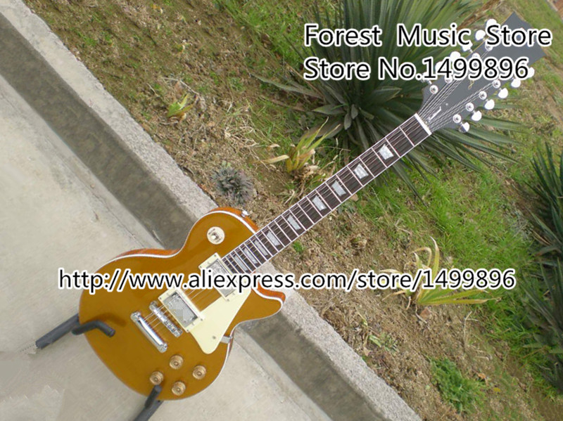 Custom Shop Brown 12 Strings Traditional 22 Frets LP Standard Electric Guitar China Body & Kits Left Handed Custom Available new arrival glossy black left handed 7 string guitar electric china custom shop for sale