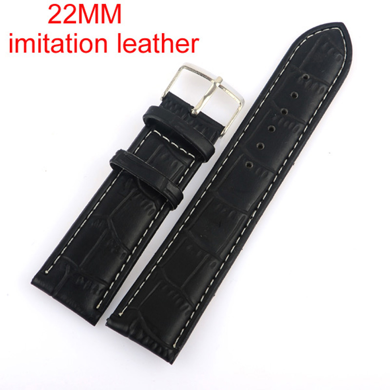High Quality  Black 22MM Imitation leather watchband with steel  buckle.  waterproof Straps, sport watch band